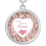 World's greatest nana pink flowers necklace