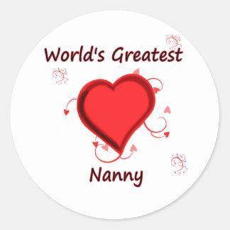 World's Greatest nanny Round Sticker