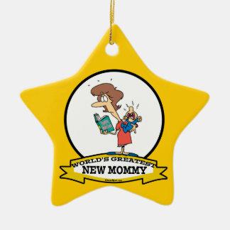 WORLDS GREATEST NEW MOMMY CARTOON CHRISTMAS ORNAMENT