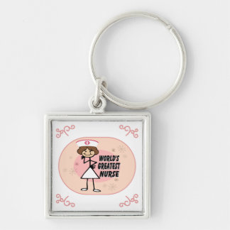 World's Greatest Nurse Silver-Colored Square Key Ring
