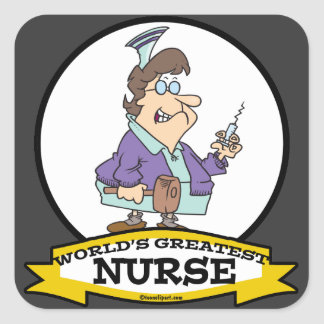 WORLDS GREATEST NURSE WOMEN CARTOON SQUARE STICKERS