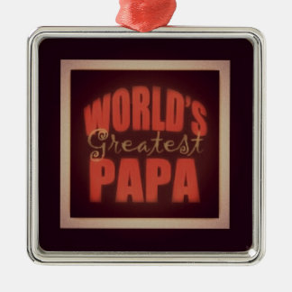 world's greatest Papa Silver-Colored Square Decoration