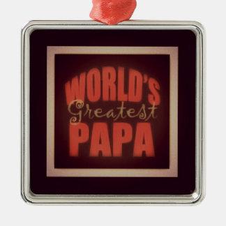 world's greatest Papa Silver-Colored Square Decoration