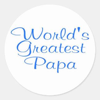 Worlds Greatest Papa Round Stickers