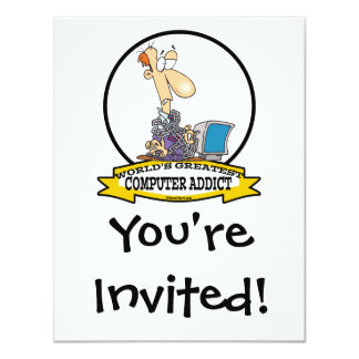 "WORLDS GREATEST PC COMPUTER ADDICT CARTOON 4.25"" X 5.5"" INVITATION CARD"