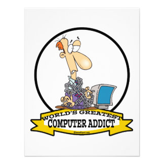 WORLDS GREATEST PC COMPUTER ADDICT CARTOON CUSTOM INVITATIONS