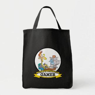 WORLDS GREATEST PC GAMER TEEN CARTOON CANVAS BAGS