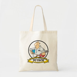 WORLDS GREATEST PC TECH MEN CARTOON BUDGET TOTE BAG