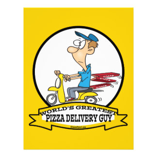 WORLDS GREATEST PIZZA DELIVERY GUY CARTOON 21.5 CM X 28 CM FLYER