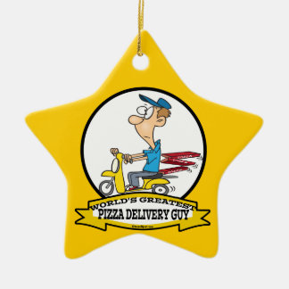WORLDS GREATEST PIZZA DELIVERY GUY CARTOON CHRISTMAS ORNAMENT