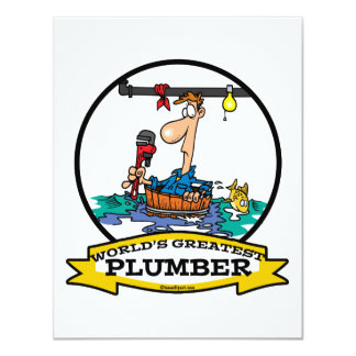WORLDS GREATEST PLUMBER IV MEN CARTOON 11 CM X 14 CM INVITATION CARD