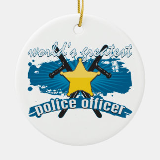 World's Greatest Police Officer Round Ceramic Decoration