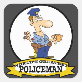 WORLDS GREATEST POLICEMAN MEN CARTOON SQUARE STICKER