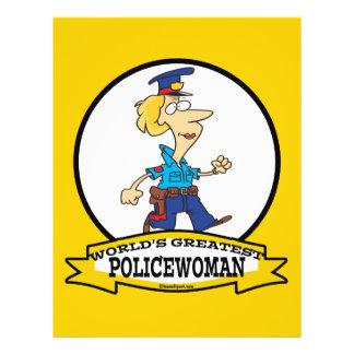 WORLDS GREATEST POLICEWOMAN CARTOON 21.5 CM X 28 CM FLYER