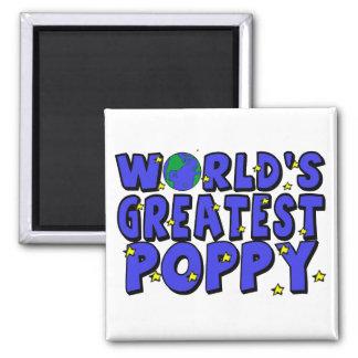 World's Greatest Poppy Square Magnet