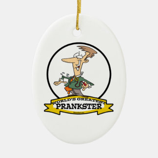 WORLDS GREATEST PRANKSTER MEN CARTOON CHRISTMAS ORNAMENT