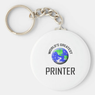 World's Greatest Printer Basic Round Button Key Ring