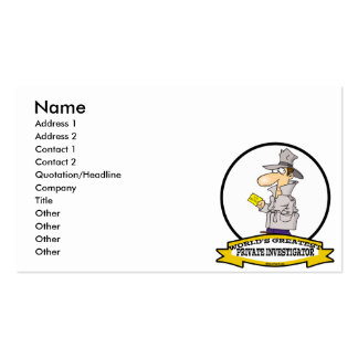 WORLDS GREATEST PRIVATE INVESTIGATOR MEN CARTOON BUSINESS CARD TEMPLATES