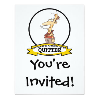 WORLDS GREATEST QUITTER SMOKER CARTOON 11 CM X 14 CM INVITATION CARD