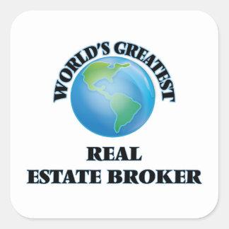 World's Greatest Real Estate Broker Square Sticker
