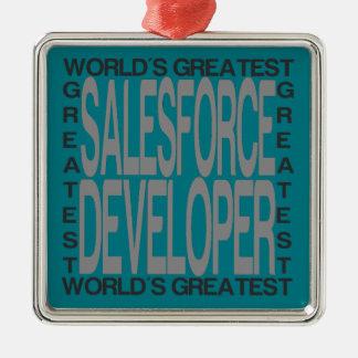 Worlds Greatest Salesforce Developer Silver-Colored Square Decoration