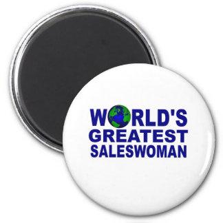 World's Greatest Saleswoman 6 Cm Round Magnet