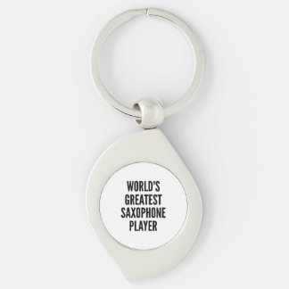 Worlds Greatest Saxophone Player Silver-Colored Swirl Key Ring