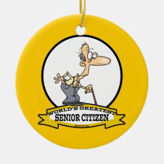 WORLDS GREATEST SENIOR CITIZEN CARTOON ROUND CERAMIC DECORATION
