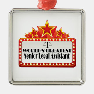 World's Greatest Senior Legal Assistant Silver-Colored Square Decoration