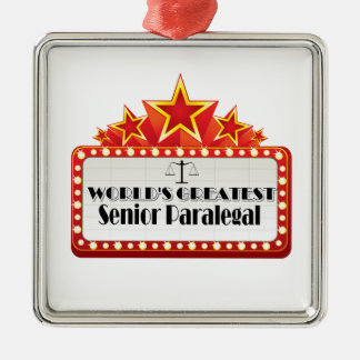 World's Greatest Senior Paralegal Silver-Colored Square Decoration