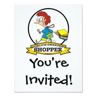 WORLDS GREATEST SHOPPER WOMEN CARTOON 11 CM X 14 CM INVITATION CARD