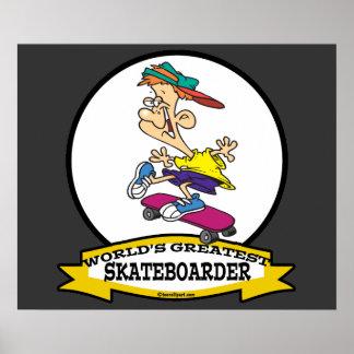 WORLDS GREATEST SKATEBOARDER CARTOON PRINT