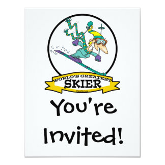 WORLDS GREATEST SKIER MEN CARTOON PERSONALIZED INVITE