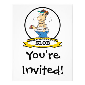 WORLDS GREATEST SLOB CARTOON PERSONALIZED INVITATIONS