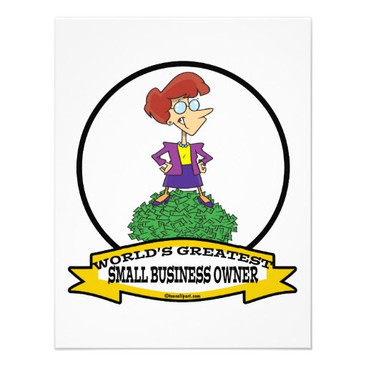 WORLDS GREATEST SMALL BUSINESS OWNER WOMAN CARTOON CUSTOM INVITE