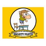 WORLDS GREATEST SMARTY PANTS BOY CARTOON POSTCARD
