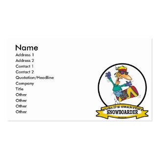 WORLDS GREATEST SNOWBOARDER CARTOON BUSINESS CARD TEMPLATES