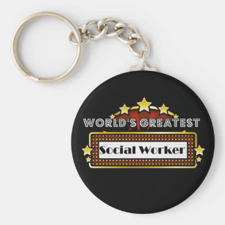 World's Greatest Social Worker Basic Round Button Key Ring