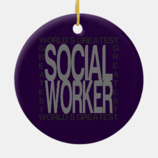 Worlds Greatest Social Worker Round Ceramic Decoration