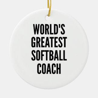 Worlds Greatest Softball Coach Christmas Ornament