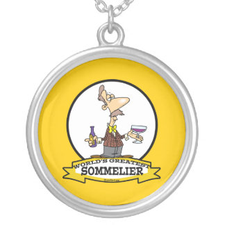 WORLDS GREATEST SOMMELIER CARTOON SILVER PLATED NECKLACE