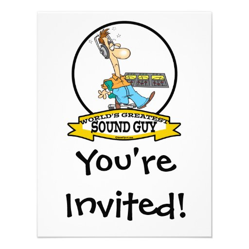 WORLDS GREATEST SOUND GUY MEN CARTOON PERSONALIZED INVITE