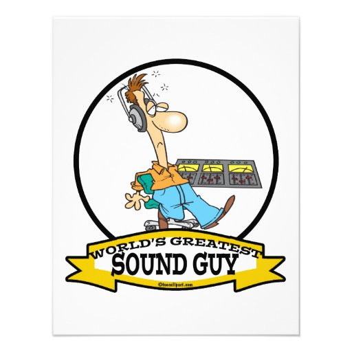 WORLDS GREATEST SOUND GUY MEN CARTOON CUSTOM INVITES