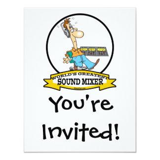 WORLDS GREATEST SOUND MIXER MEN CARTOON 11 CM X 14 CM INVITATION CARD
