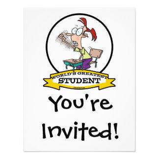 WORLDS GREATEST STUDENT GIRL CARTOON CUSTOM INVITES