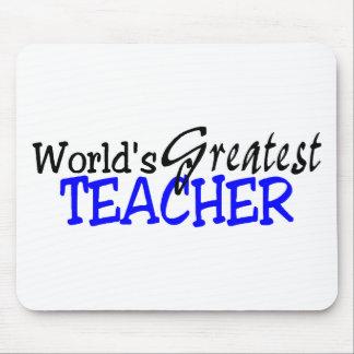 Worlds Greatest Teacher Blue Black Mouse Pad