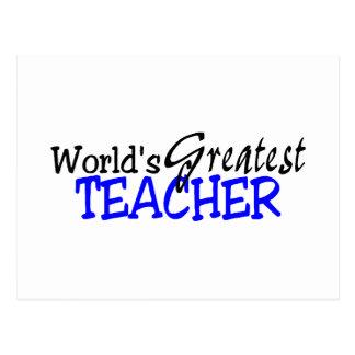 Worlds Greatest Teacher Blue Black Postcard