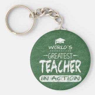 World's Greatest Teacher In Action Basic Round Button Key Ring