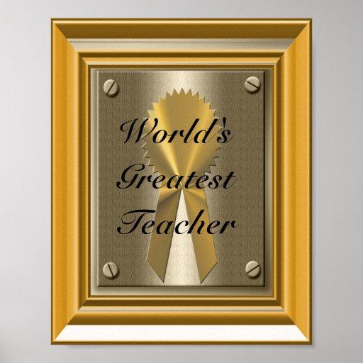 World's Greatest Teacher Poster Print Sign