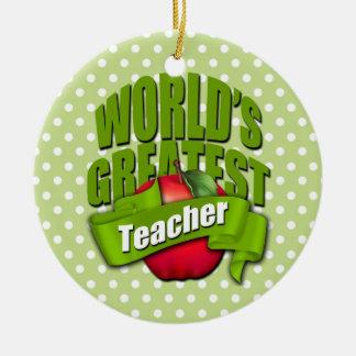 Worlds Greatest Teacher Round Ceramic Decoration